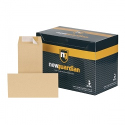 New Guardian DL Envelopes Heavyweight 130gsm Pocket Peel and Seal Manilla (Pack of 500) E26503
