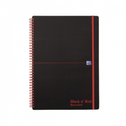Black n Red Wiro A4 Notebook Feint Recycled Polypropylene (Pack of 5) 846350973