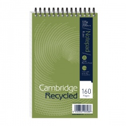 Cambridge Recycled Wirebound Notebook 160 Pages 125 x 200mm Perforated Headbound 100080468