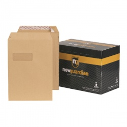 New Guardian C4 Envelopes Window 130gsm Manilla Peel and Seal (Pack of 250) F24203