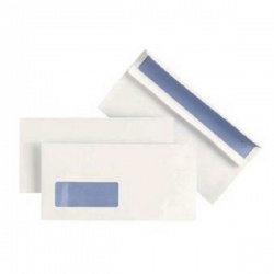 Plus Fabric DL Envelopes Window 110gsm Wallet Self Seal White (Pack of 500) J22370