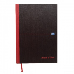 Black n Red Casebound Manuscript Book 192 Pages A4 Double Cash (Pack of 5) 100080514