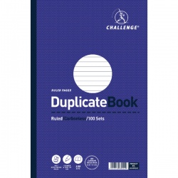Challenge Duplicate Book Ruled Carbonless 100 Sets 297x195mm (Pack of 3) 100080527