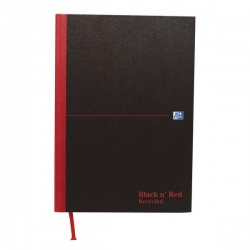 Black n Red A4 Casebound Hardback Recycled Notebook 192 Pages (Pack of 5) 100080530