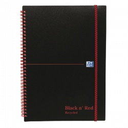 Black n Red Recycled A5 Notebook Wirebound Elasticated Poly Feint Ruled 140 Pages 846350963