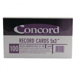 Concord Record Card 5x3 inches Assorted (Pack of 100) 16099/160
