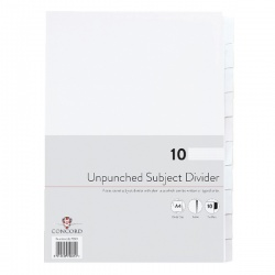 Concord A4 10-Part Unpunched Presentation Dividers (Pack of 10) 75801