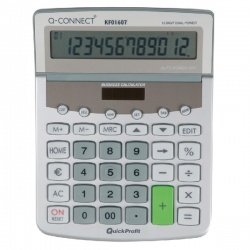Q-Connect Dual Powered Desktop Calculator 12-digit Adjustable Display