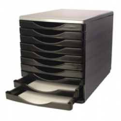 Q-Connect Black and Grey 10 Drawer Tower KF02254
