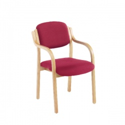 Jemini Wood Frame Side Chair with Arms Claret KF03515