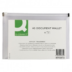 Q-Connect Clear A5 Document Zip Wallet (Pack of 10) KF03672