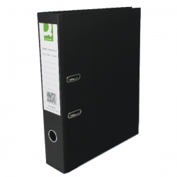 Q-Connect Lever Arch Foolscap File Paper Over Board Black (Pack of 10) KF20029