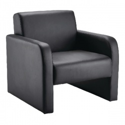 Arista Reception Chair Flat Pack Leather Look Black KF72153
