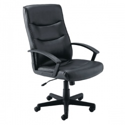 Jemini Hudson Leather Look Executive Chair with Arms Black KF72232