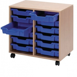 Jemini Mobile Storage Unit 12 Blue Trays Beech KF72339