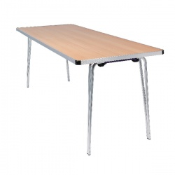 Jemini Aluminium Folding Table Rectangular Beech W1830xD685xH698mm KF74026