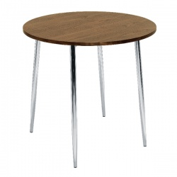 Arista Walnut and Chrome Round Bistro Table KF838316