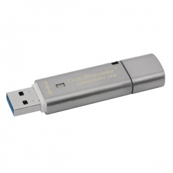 Kingston Silver DataTraveler Locker+ G3 USB 3.0 Encrypted Flash Drive 64GB DTLPG3/64GB