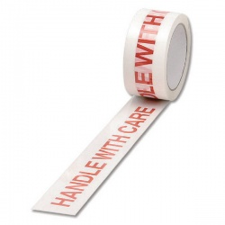 White/Red Polypropylene Tape Printed Handle With Care 50mm x 66m (Pack of 6) 70581500