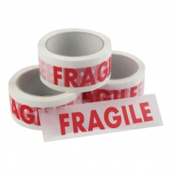 Vinyl Tape Printed Fragile White and Red 50mm x 66m (Pack of 6) PPVC-FRAGILE