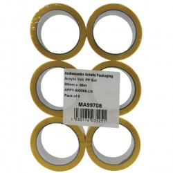 Yellow Polypropylene Tape 50mm x 66m (Pack of 6) APPY-500066-LN