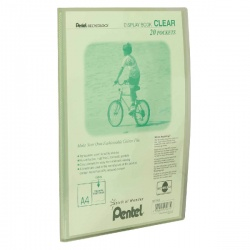 Pentel Recycology Clear Display Book A4 20 Pocket Green (Pack of 20) DCF242K