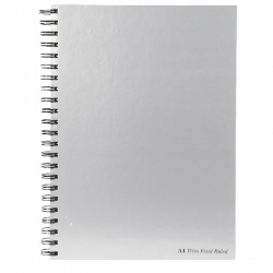 Pukka Wirebound A4 Notebook Feint Ruled with Margin 160 Pages Silver (Pack of 5) WRULA4