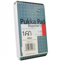 Pukka Reporter's Shorthand Notebook 205 x 140mm Wirebound 160 Pages (Pack of 3) NM001