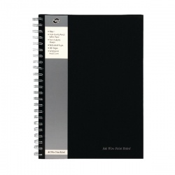Pukka Wirebound A4 Notebook Wirebound Hardback Feint Ruled with Margin 160 Pages Black SBWRULA4
