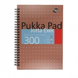 Pukka Jotta Executive A4 Notebook Plus Wirebound 4 Hole Punched Feint Ruled 300 Pages 7019-MET