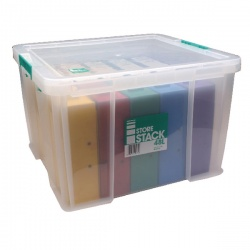 StoreStack 48 Litre Box Clear W490 x D440 x H320mm RB90125