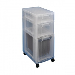 Really Useful Clear Plastic Storage Tower 3 Drawers 7L/12L/25L DT1019