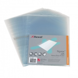 Rexel Nyrex Pocket PVC Heavy Duty Side Opening Clear (Pack of 25) NRBA41 11011