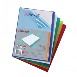 Rexel Nyrex Cut Back A4 Folder PVC Assorted (Pack of 25) PFA4C 12131AS