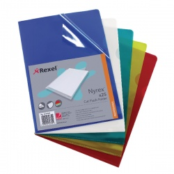 Rexel Nyrex Cut Flush A4 Folder PVC Assorted (Pack of 25) PFCA4C 12161AS