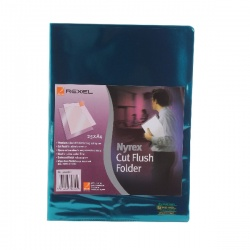Rexel Nyrex Cut Flush A4 Folder PVC Green (Pack of 25) CA4C 12161GN