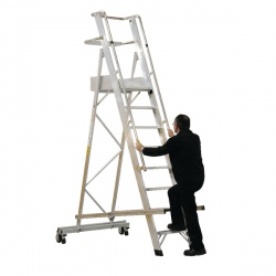 Aluminium 12 Tread Folding Mobile Step Ladder 316027