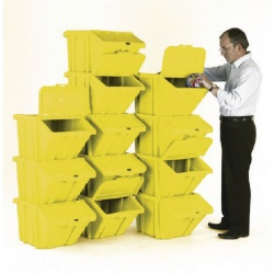 VFM Yellow Heavy Duty Recycle Bin/Lid (Pack of 12) 369053
