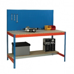 Blue and Orange Workbench with Backboard and Lower Shelf 1200x750mm 375517
