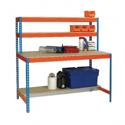 Blue and Orange Workbench with Upper and Lower Shelves 1500x750mm 375521