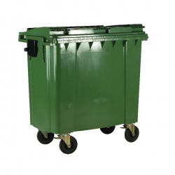 Green Wheeled 1100 Litre Bin with Flat Lid 377395