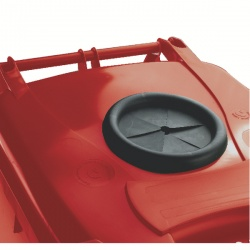 Wheelie Bin 120L With Bottle Bank Aperture And Lid Lock Red 377869