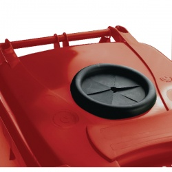 Wheelie Bin 240L With Bottle Bank Aperture And Lid Lock Red 377871