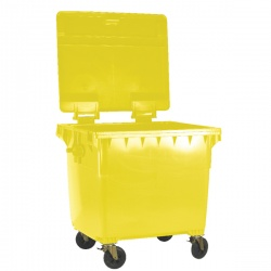Yellow Clinical Waste 1100 Litre Refuse Container with Flat Lid 377921