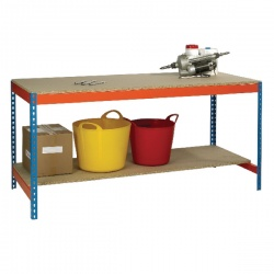 Blue and Orange Workbench with Lower Shelf L1800xW900xD900mm 378932