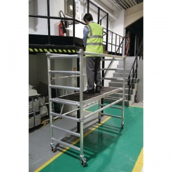 Folding Scaffold 1780x740mm 3 Handrail Platform Silver 383445