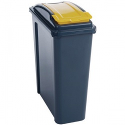 VFM Recycling Bin With Lid 25 Litre Yellow