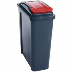 VFM Recycling Bin With Lid 25 Litre Red