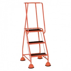Red 3 Tread Metal Rubber Steps 125kg Max