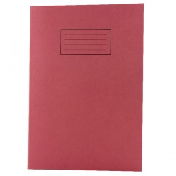 Silvine A4 Exercise Book 80 Pages Feint Ruled with Margin Red EX107